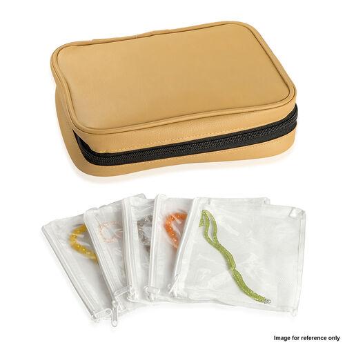 Beige Colour Travelling Jewellery Bag (Size 25x20x6 Cm) with 5 Transparant Zipper Pouch (Size 19x15 Cm)
