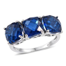 Ceylon Colour Quartz (Cush) Trilogy Ring in Platinum Overlay Sterling Silver 5.250 Ct.