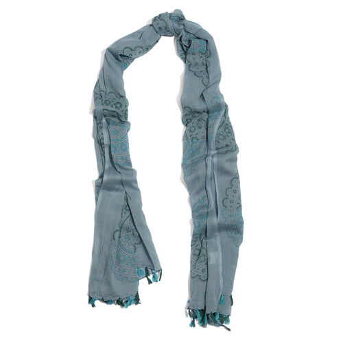 100% Cotton Dark Grey Colour Scarf (Size 180x100 Cm)