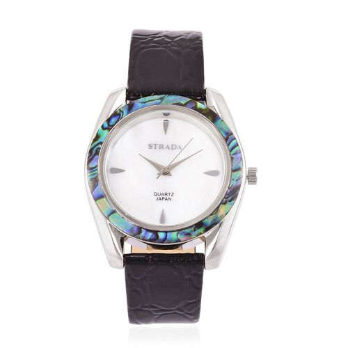 STRADA Mother of Pearl and Ablone Shell Bezel Japanese Movement Cobble Embossed Watch Silver Tone