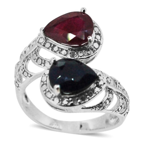 African Ruby (Pear 2.00 Ct), Diffused Blue Sapphire and Diamond Ring in Rhodium Plated Sterling Silver 4.020 Ct.
