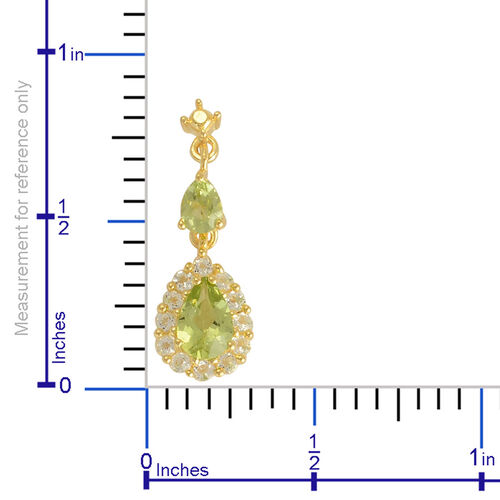 Hebei Peridot (Pear), White Topaz Earrings (With Push Back) in Yellow Gold Overlay Sterling Silver 1.550 Ct.