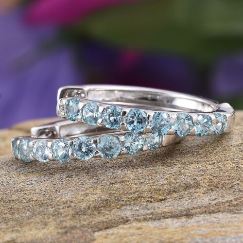 AA Natural Cambodian Blue Zircon (Rnd) Hoop Earrings in Platinum Overlay Sterling Silver 3.000 Ct.