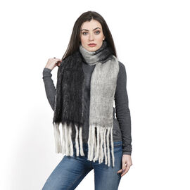 Limited Deal - Mohair Wool Blend (Mohair 25%) Neck Wrap - Black and White with Tassels (Size 170x30 Cm)