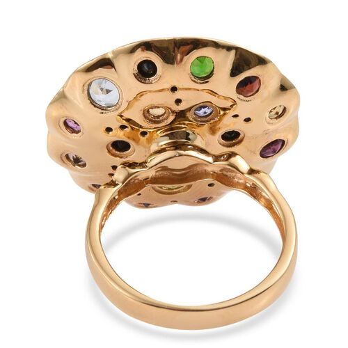GP Sky Blue Topaz (Rnd 0.50 Ct), Hebei Peridot, Rhodolite Garnet, Amethyst, Mozambique Garnet, Russian Diopside and Multi Gem Stone Ring in 14K Gold Overlay Sterling Silver 4.000 Ct.