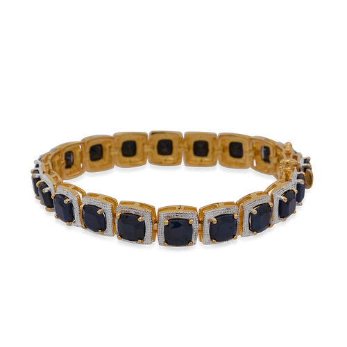 Diffused Blue Sapphire (Cush) Bracelet in 14K Gold Overlay Sterling Silver (Size 7.5) 29.450 Ct.