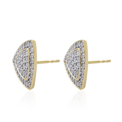 9K Yellow Gold 1 Carat Diamond Trillion Cluster Stud Earrings, SGL Certified I3 G-H