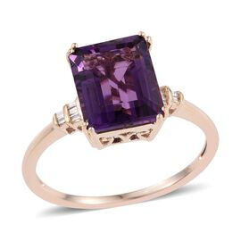 9K Y Gold Zambian Amethyst (Oct 4.50 Ct), Diamond Ring 4.550 Ct.