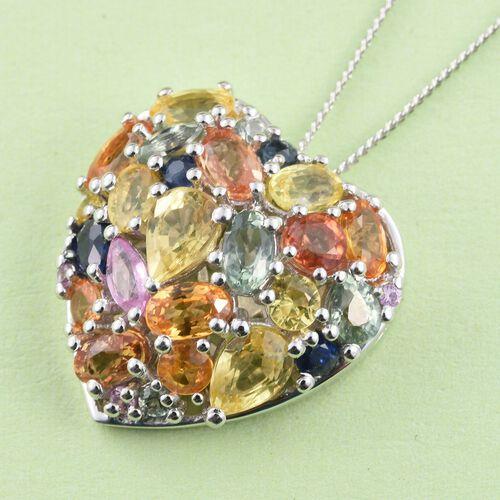Orange Sapphire (Ovl), Yellow Sapphire, Green Sapphire, Kanchanaburi Blue Sapphire and Multi Gemstone Heart Pendant With Chain (Size 30) in Platinum Overlay Sterling Silver 5.00 Ct.