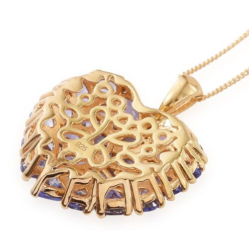 Tanzanite (Rnd) Heart Pendant With Chain (Size 30) in 14K Gold Overlay Sterling Silver 5.750 Ct.