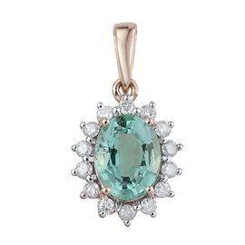 Web Exclusive- 9K Y Gold Boyaca Colombian Emerald (Ovl 1.15 Ct), Diamond Pendant 1.400 Ct.