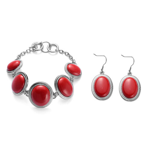 Simulated Coral Bracelet (Size 8) and Hook Earrings in Silver Tone