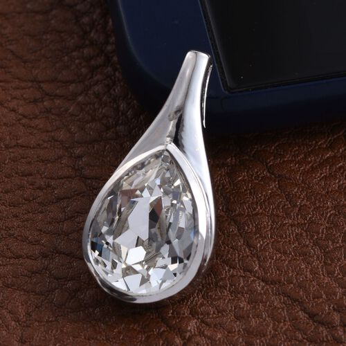 Crystal from Swarovski - White Crystal (Pear) Solitaire Pendant in Platinum Overlay Sterling Silver