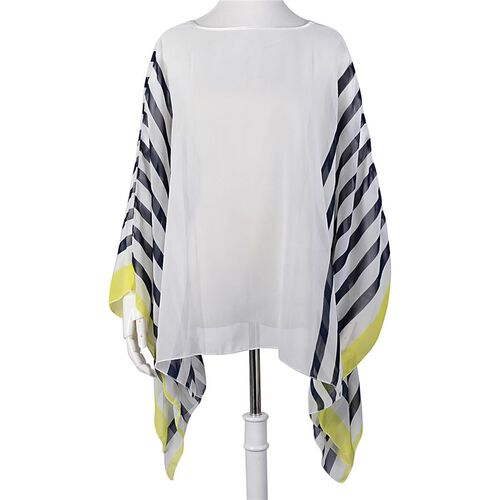 Navy Blue and Yellow Colour Stripe Pattern White Colour Poncho (Size 135x55 Cm)