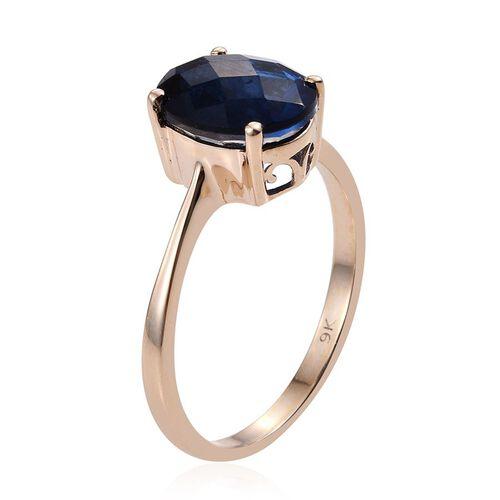Checkerboard Cut 9K Y Gold Ceylon Colour Quartz (Ovl) Solitaire Ring 5.000 Ct.