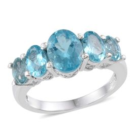 AA Paraibe Apatite (Ovl 1.15 Ct) 5 Stone Ring in Platinum Overlay Sterling Silver 2.550 Ct.