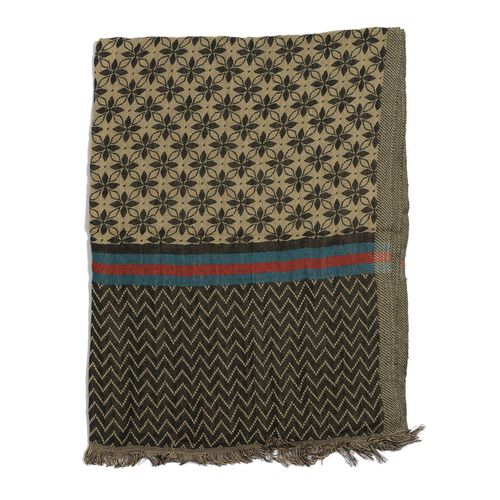 Geometric Flower Pattern Black and Beige Colour Scarf (Size 190x70 Cm)