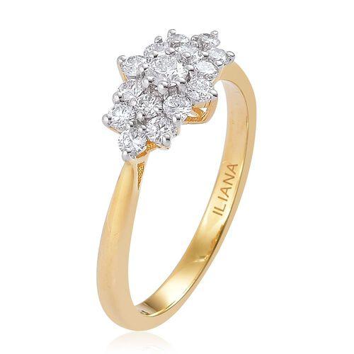 ILIANA 18K Gold IGI Certified 0.50 Carat Cluster Diamond Ring SI G-H