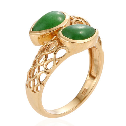 Green Jade (Pear) Crossover Ring in 14K Gold Overlay Sterling Silver 3.000 Ct.