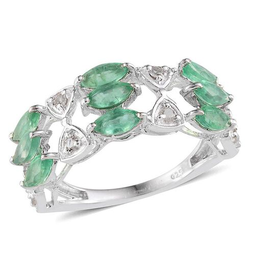 Kagem Zambian Emerald (Mrq), White Topaz Ring in Platinum Overlay Sterling Silver 2.250 Ct.