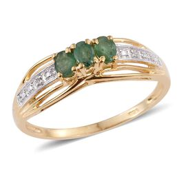 Kagem Zambian Emerald (Ovl), Diamond Ring in 14K Gold Overlay Sterling Silver (Delivery 6-8 Working days)