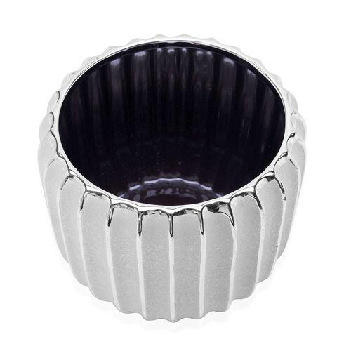 Silver Colour Stoneware Ceramic Handcrafted Flower Pot (Size 15x13 Cm)