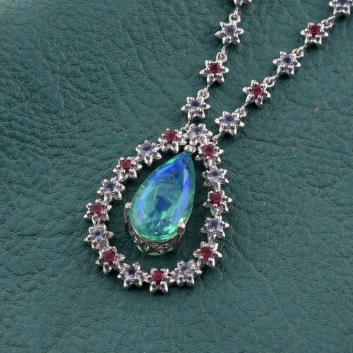 Peacock Quartz (Pear 9.15 Ct), Iolite and Rhodolite Garnet Necklace (Size 18) in Platinum Overlay Sterling Silver 11.500 Ct.