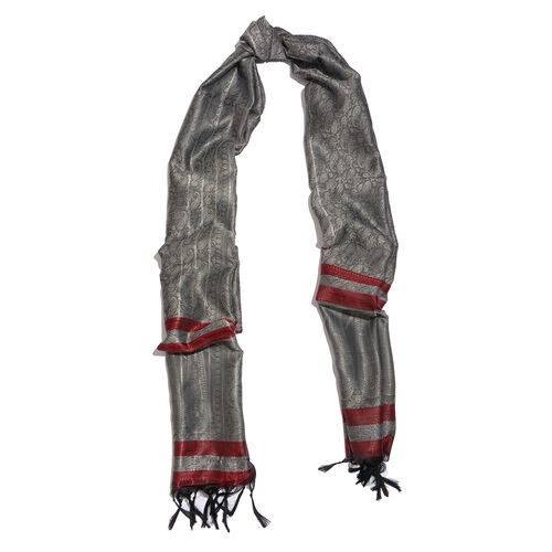 Grey Colour Paisley Pattern Jacquard Scarf with Tassels (Size 180x50 Cm)