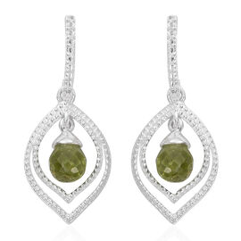 Hebei Peridot Drop Earrings (with Push Back) in Sterling Silver 2.750 Ct.