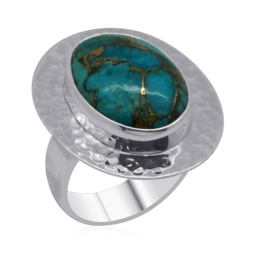Royal Bali Collection Mohave Blue Turquoise (Ovl) Solitaire Ring in Sterling Silver 9.290 Ct.