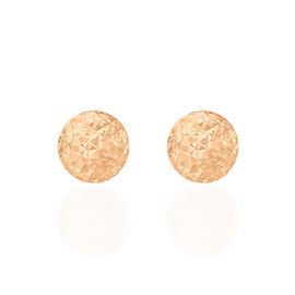 Close Out Deal 9K R Gold Diamond Cut Ball Stud Earrings (with Push Back) (6mm to 7mm)