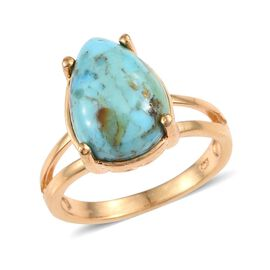 Arizona Matrix Turquoise (Pear) Solitairte Ring in 14K Gold Overlay Sterling Silver 4.250 Ct.