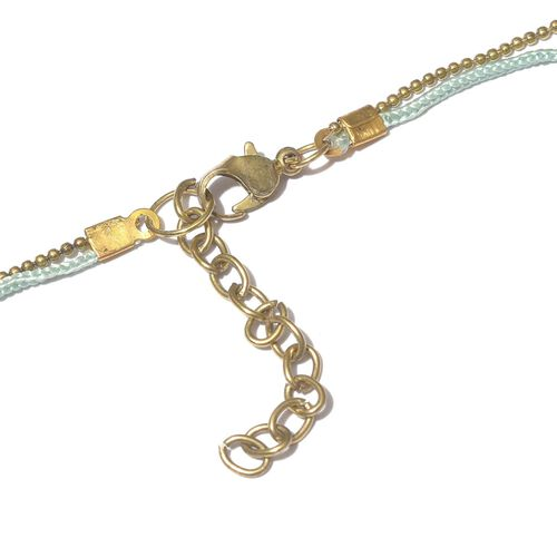 Dream Catcher Necklace (Size 22 with 2 inch Extender) with Light Blue Colour Beads and Matching Key Chain in Gold Tone