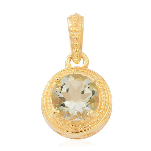 Green Amethyst (Rnd) Solitaire Pendant in 14K Gold Overlay Sterling Silver 2.750 Ct.