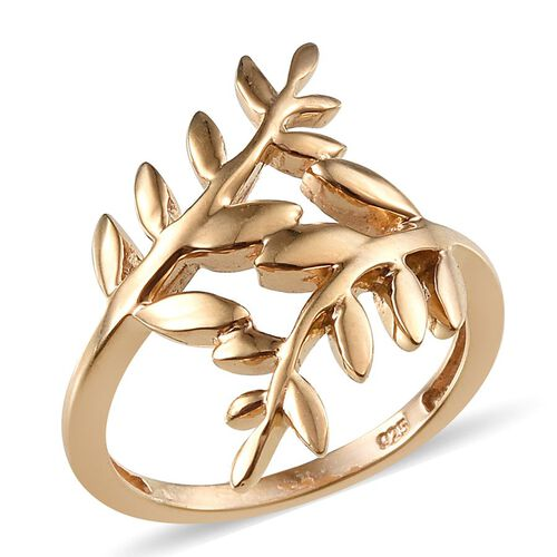 14K Gold Overlay Sterling Silver Olive Leaves Crossover Ring, Silver wt 4.10 Gms.