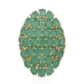 ILIANA 18K Y Gold Rare AAAA Kagem Zambian Emerald (Ovl) Cluster Pendant 5.000 Ct.