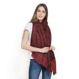 88% Merino Wool and 12% Silk Maroon and Black Colour Shawl with Fringes at the Bottom (Size 180x70 Cm)