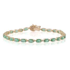 9K Y Gold AA Kagem Zambian Emerald (Ovl), Diamond (I3/G-H) Bracelet (Size 8) 6.250 Ct.