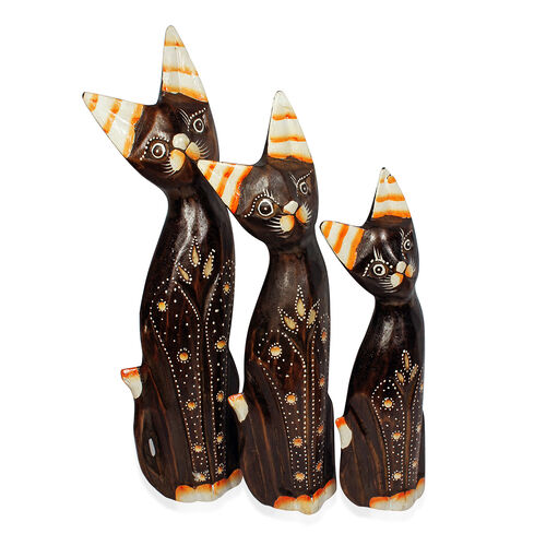 Bali Collection Home Decor - Set of 3 Chocolate and Yellow Colour Hand Carved & Painted Softwood Cat (Size Large 35, Medium 30 and Small 26 Cm)