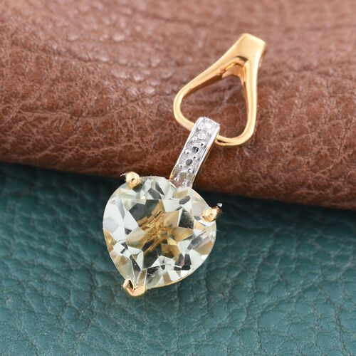Green Amethyst (Hrt) Solitaire Pendant in 14K Gold Overlay Sterling Silver 3.000 Ct.
