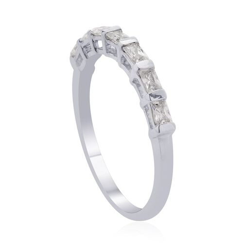 J Francis - Platinum Overlay Sterling Silver (Bgt) 7 Stone Ring Made with SWAROVSKI ZIRCONIA 0.560 Ct.
