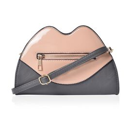 Designer Inspired Lip Design Beige and Grey Colour Crossbody Bag (Size 23x15x6 Cm)
