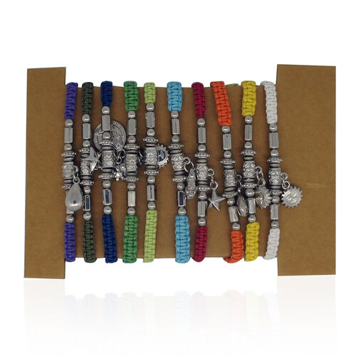 Set of 10 - Bali Collection White, Red, Dark and Light Blue, Orange, Yellow, Purple, Dark, Light and Mud Green Colour Weaved String Multi Charms Adjustable Bracelet (Size 6.5 to 10)