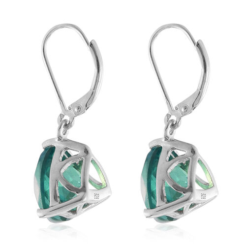 Peacock Quartz (Trl) Lever Back Earrings in Platinum Overlay Sterling Silver 13.000 Ct.