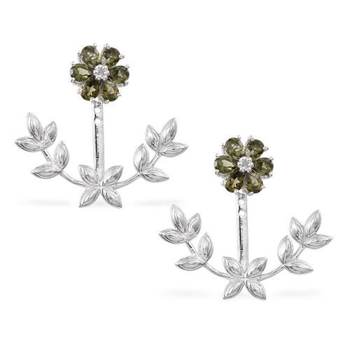 Bohemian Moldavite (Pear), Diamond Floral and Leaves Jacket Earrings (with Push Back) in Platinum Overlay Sterling Silver 1.520 Ct.