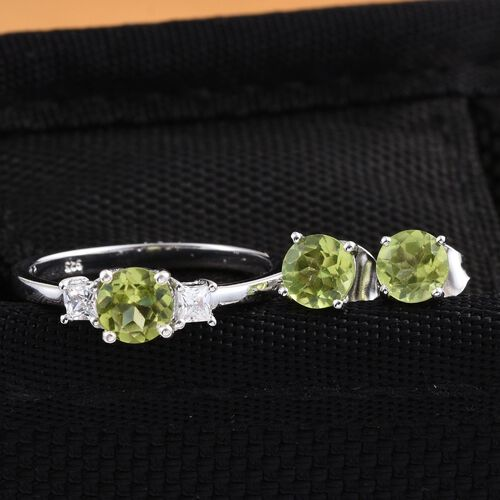 Hebei Peridot (Rnd), Simulated Diamond Solitaire Ring and Stud Earrings (with Push Back) in Platinum Overlay Sterling Silver 2.500 Ct.