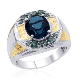 Designer Collection Indicolite Triplet Quartz (Ovl 4.42 Ct), Ocean Blue Apatite Ring in 14K YG and Platinum Overlay Sterling Silver 5.175 Ct.