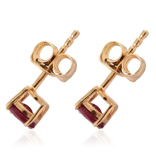 African Ruby 0.50 ct. Solitaire Silver Stud Earrings with Push Back in Gold Overlay