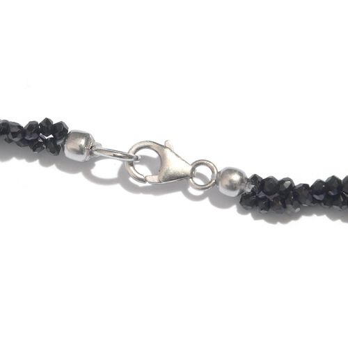(Option 1) Boi Ploi Black Spinel (Rnd) Beads Necklace (Size 20) in Sterling Silver 95.000 Ct. Silver weight 21.87 gram