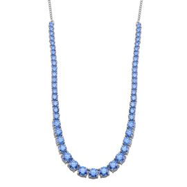 J Francis - Platinum Overlay Sterling Silver (Rnd) Necklace (Size 18) Made with Blue SWAROVSKI ZIRCONIA 15.480 Ct.